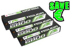 PK Racing - PK-200-018-3 - Li-HV ASUGA +100C - 7.6V 2S - 6800mAh - Hardcase Stick 2S - 5mm Bullet - EFRA BRCA - 3 pcs