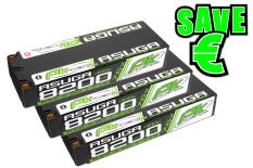 PK Racing - PK-200-020-3 - Li-HV ASUGA +100C - 7.6V 2S - 8200mAh - Hardcase Stick 2S - 5mm Bullet - EFRA BRCA - 3 pcs