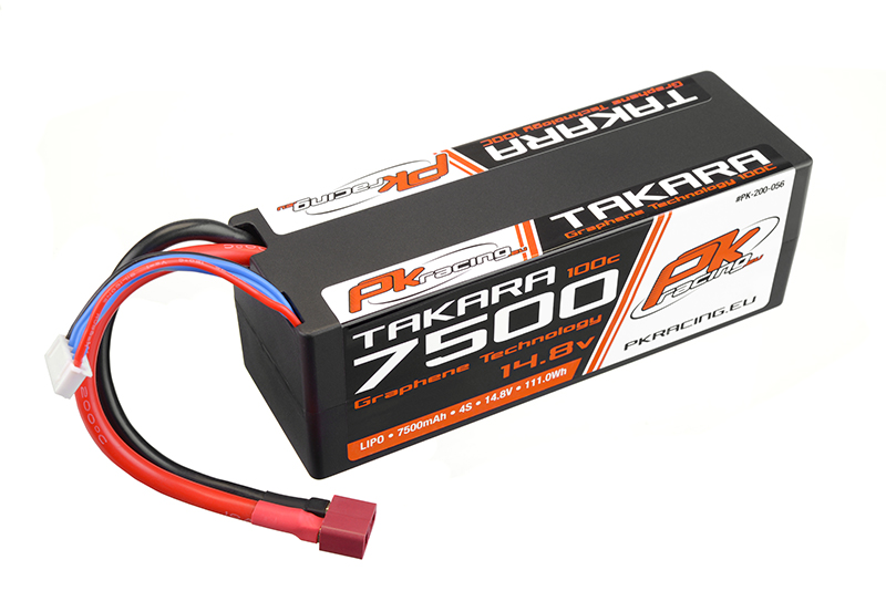 PK Racing - PK-200-056 - Li-Po TAKARA 100C - 14.8V 4S - 7500mAh - Hardcase 4S - Hard Wire - T-Plug