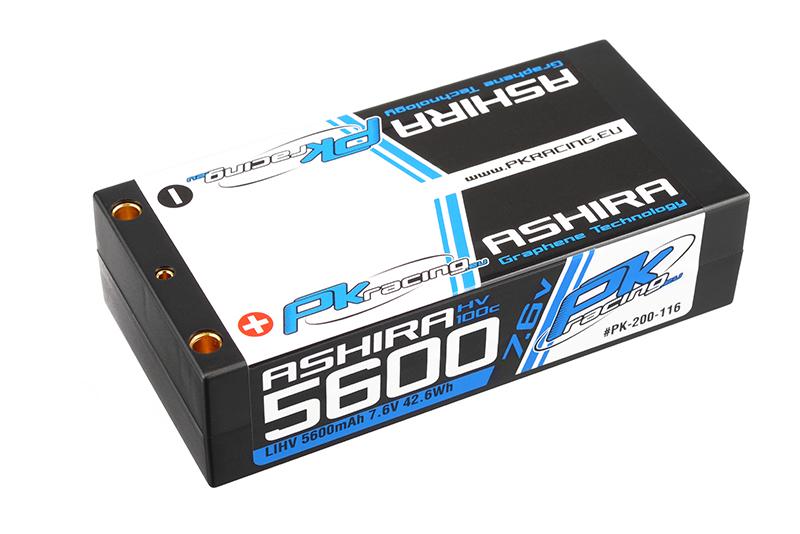 PK Racing - PK-200-116 - Li-HV ASHIRA HV 100C - 7.6V 2S - 5600mAh - Hardcase Shorty 2S - 4mm Bullet - EFRA BRCA