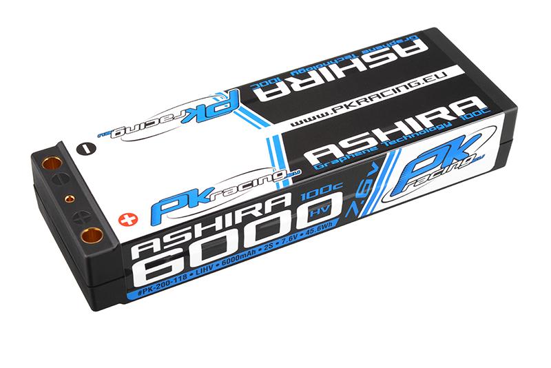 PK Racing - PK-200-118 - Li-HV ASHIRA HV 100C - 7.6V 2S - 6000mAh - Hardcase Stick 2S - 5mm Bullet - EFRA BRCA