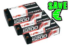 PK Racing - PK-200-214-3 - Li-HV KANSAN 120C - 7.6V 2S - 5200mAh - Hardcase Shorty 2S - 5mm Bullet - EFRA BRCA - 3 pcs