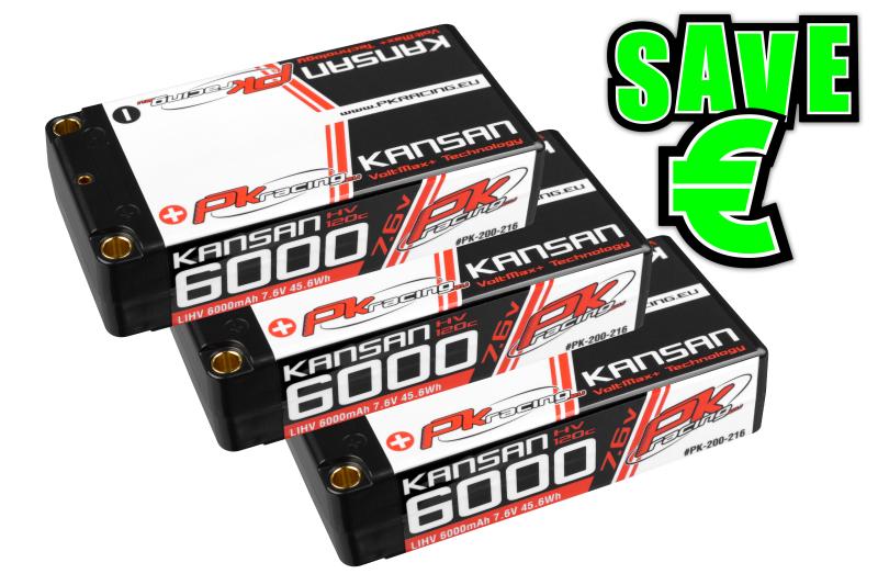 PK Racing - PK-200-216-3 - Li-HV KANSAN 120C - 7.6V 2S - 6000mAh - Hardcase Shorty 2S - 5mm Bullet - EFRA BRCA - 3 pcs