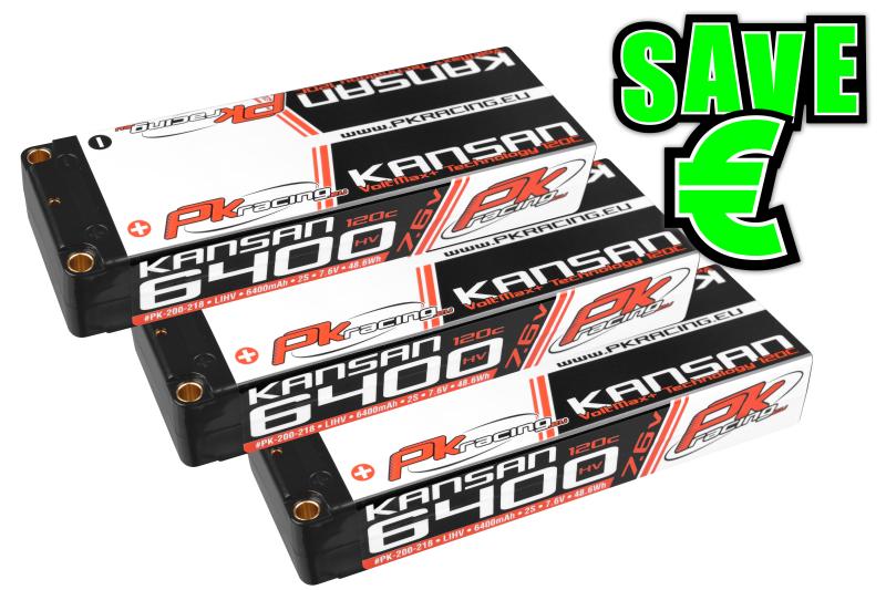 PK Racing - PK-200-218-3 - Li-HV KANSAN 120C - 7.6V 2S - 6400mAh - Hardcase Stick 2S - 5mm Bullet - EFRA BRCA - 3 pcs