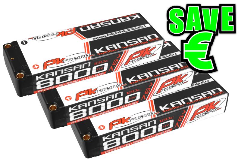 PK Racing - PK-200-220-3 - Li-HV KANSAN 120C - 7.6V 2S - 8000mAh - Hardcase Stick 2S - 5mm Bullet - EFRA BRCA - 3 pcs