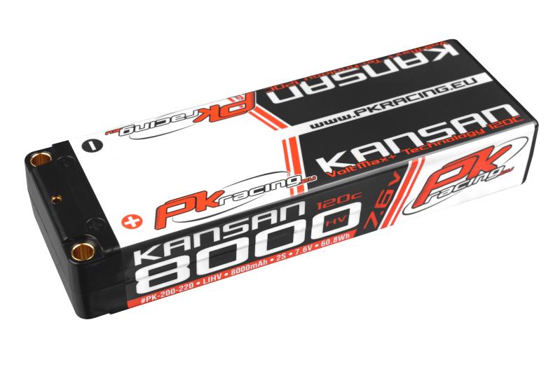 PK Racing - PK-200-220 - Li-HV KANSAN 120C - 7.6V 2S - 8000mAh - Hardcase Stick 2S - 5mm Bullet - EFRA BRCA