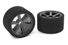 Team Corally - C-14720-30 - Attack foam tires - 1/12 Circuit - 30 shore Pink - Front - Carbon rims - 2 pcs