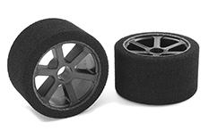 Team Corally - C-14720-35 - Attack foam tires - 1/12 Circuit - 35 shore Double Pink - Front - Carbon rims - 2 pcs