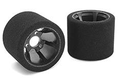 Team Corally - C-14726-30 - Attack foam tires - 1/12 Circuit - 30 shore Pink - Rear - Carbon rims Yokomo - 2 pcs