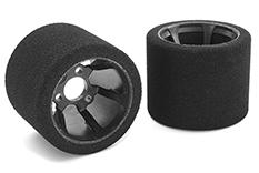 Team Corally - C-14726-35 - Attack foam tires - 1/12 Circuit - 35 shore Double Pink - Rear - Carbon rims Yokomo - 2 pcs