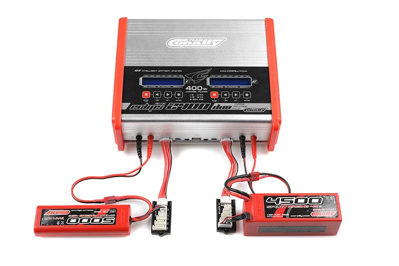 Team Corally - C-48491 - Charger - Eclips 2400 Duo - AC/DC - 400W Power - LCD Display - (2X) 1-6 Li-Xx - 1-15 Ni-Xx