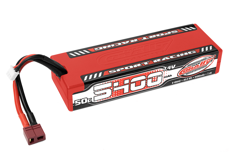 Team Corally - C-49442 - Sport Racing 50C LiPo Battery - 5400mAh - 7.4V - Stick 2S - Hard Wire - T-Plug
