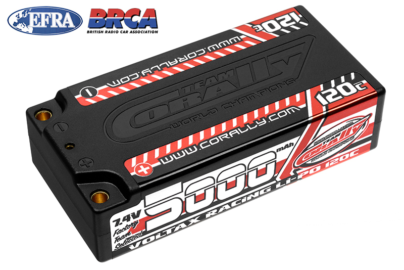 Team Corally - C-49505 - Voltax 120C LiPo Battery - 5000mAh - 7.4V - Shorty 2S - 4mm Bullit