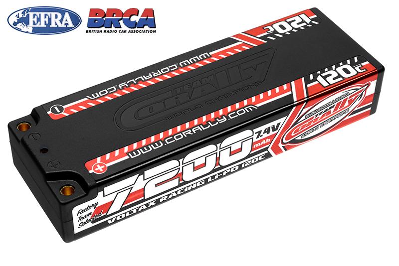 Team Corally - C-49520 - Voltax 120C LiPo Battery - 7200mAh - 7.4V - Stick 2S -  4mm Bullit