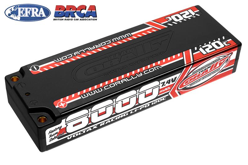 Team Corally - C-49523 - Voltax 120C LiPo Battery - 8000mAh - 7.4V - Stick 2S -  4mm Bullit