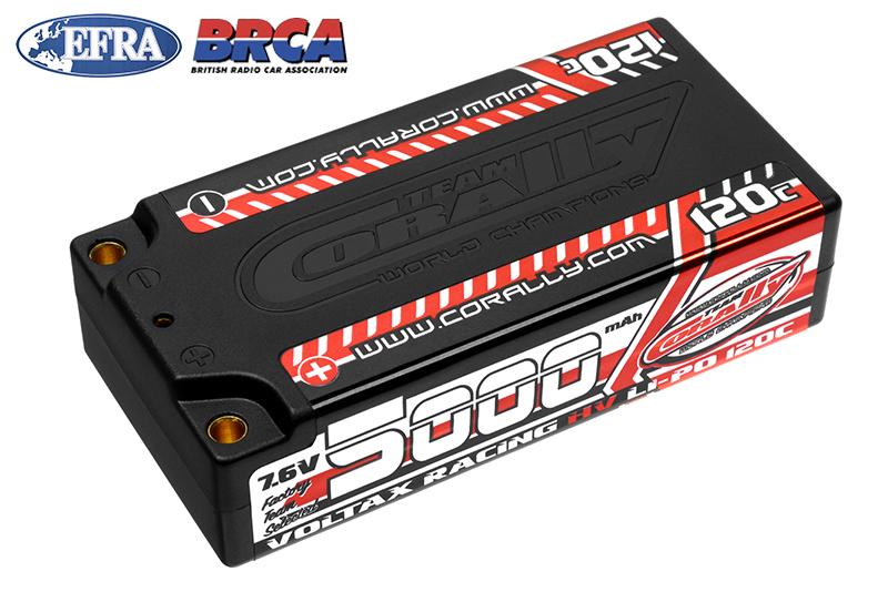 Team Corally - C-49605 - Voltax 120C LiPo HV Battery - 5000 mAh - 7.6V - Shorty 2S - 4mm Bullit