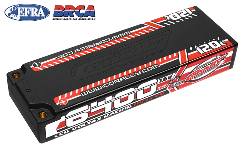 Team Corally - C-49610 - Voltax 120C LiPo HV Battery - 6400 mAh - 7.6V - LCG Stick 2S - 4mm Bullit