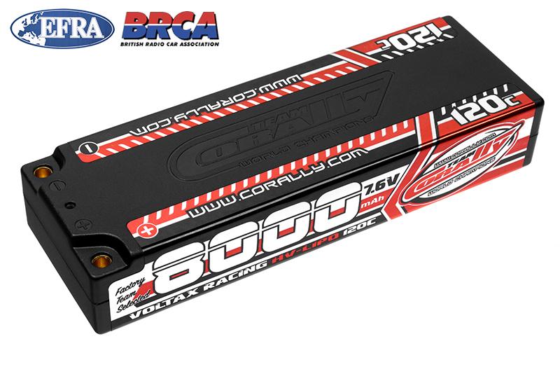 Team Corally - C-49623 - Voltax 120C LiPo HV Battery - 8000 mAh - 7.6V - Stick 2S -  4mm Bullit