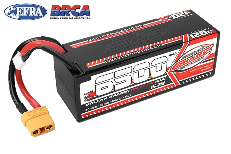 Team Corally - C-49631 - Voltax 120C LiPo HV Battery - 6500 mAh - 15.2V - Stick 4S - Hard Wire - XT90