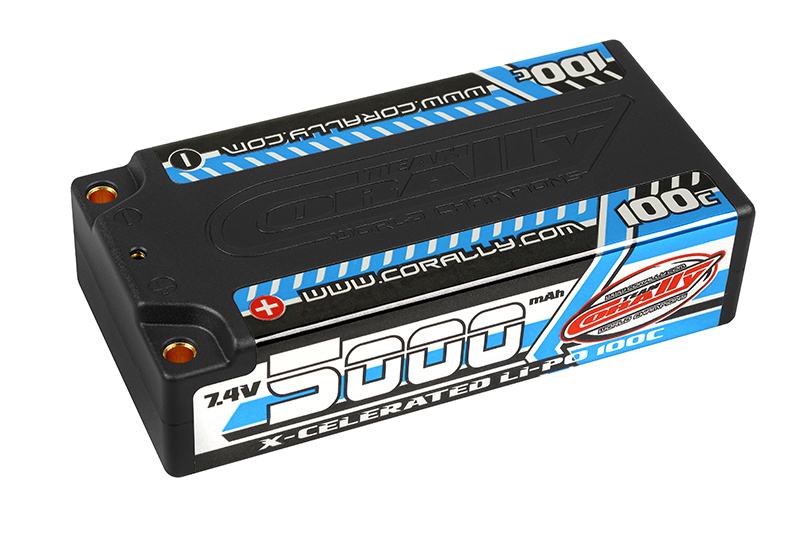 Team Corally - C-49705 - X-Celerated 100C LiPo Battery - 5000 mAh - 7.4V - Stick 2S - 4mm Bullit