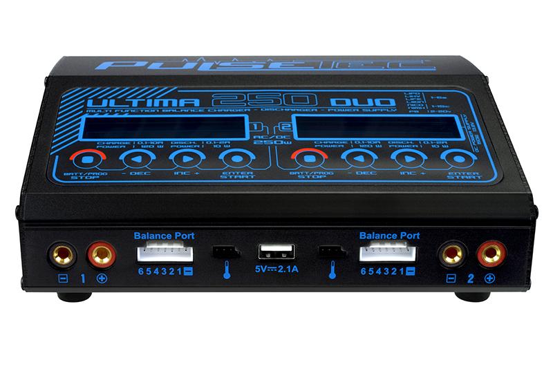 Pulsetec - PC-021-001 - Dual Charger - Ultima 250 Duo - AC 100-240V - DC 11-18V - 250W Power - 0.1-10.0A - 1-6 Li-xx - 1-15 Ni-xx - 2-20V PB