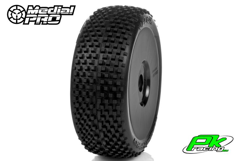 Medial Pro - MP-6405-M2 - Racing Tires glued on Rims - Velox - M2 Medium - Buggy 1/8 - 17mm Hex - White Rims