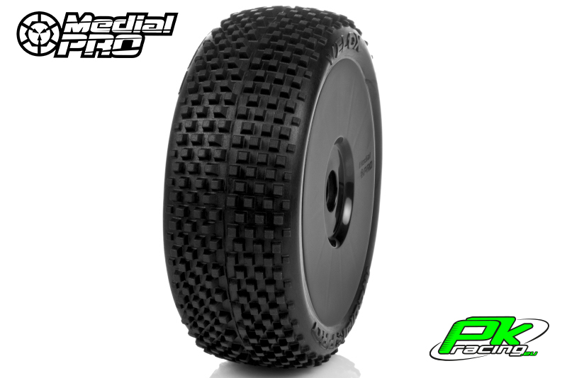 Medial Pro - MP-6405-M4 - Racing Tires glued on Rims - Velox - M4 Super Soft - Buggy 1/8 - 17mm Hex - White Rims