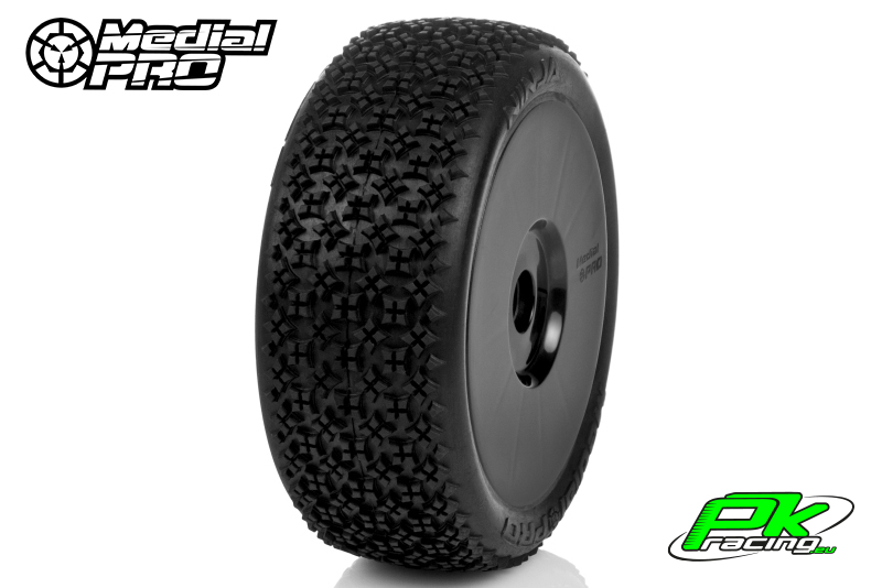 Medial Pro - MP-6415-M2 - Racing Tires glued on Rims - Ninja - M2 Medium - Buggy 1/8 - 17mm Hex - White Rims