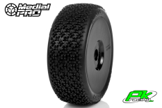 Medial Pro - MP-6415-M3 - Racing Tires glued on Rims - Ninja - M3 Soft - Buggy 1/8 - 17mm Hex - White Rims