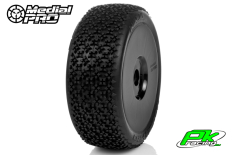 Medial Pro - MP-6415-M4 - Racing Tires glued on Rims - Ninja - M4 Super Soft - Buggy 1/8 - 17mm Hex - White Rims