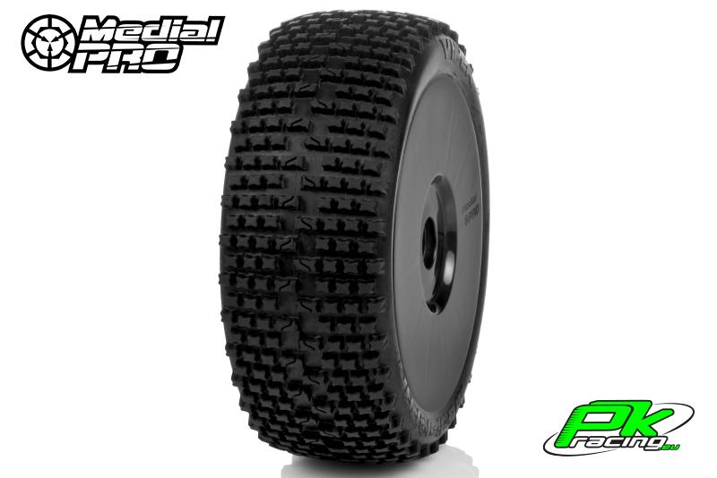 Medial Pro - MP-6425-M2 - Racing Tires glued on Rims - Viper - M2 Medium - Buggy 1/8 - 17mm Hex - White Rims