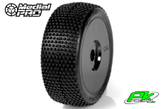 Medial Pro - MP-6435-M2 - Racing Tires glued on Rims - Blade - M2 Medium - Buggy 1/8 - 17mm Hex - White Rims