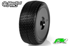 Medial Pro - MP-6435-M3 - Racing Tires glued on Rims - Blade - M3 Soft - Buggy 1/8 - 17mm Hex - White Rims