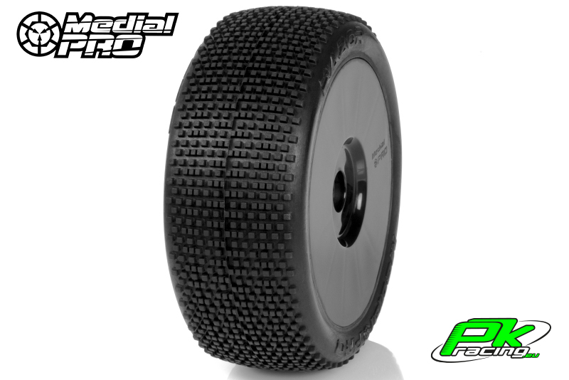 Medial Pro - MP-6445-M2 - Racing Tires glued on Rims - Razor - M2 Medium - Buggy 1/8 - 17mm Hex - White Rims