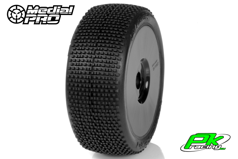 Medial Pro - MP-6445-M3 - Racing Tires glued on Rims - Razor - M3 Soft - Buggy 1/8 - 17mm Hex - White Rims