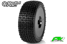 Medial Pro - MP-6455-M2 - Racing Tires glued on Rims - Gravity - M2 Medium - Buggy 1/8 - 17mm Hex - White Rims