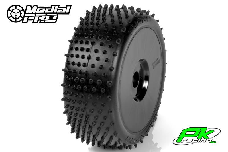 Medial Pro - MP-6465-M2 - Racing Tires glued on Rims - Turbo - M2 Medium - Buggy 1/8 - 17mm Hex - White Rims