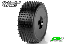 Medial Pro - MP-6465-M3 - Racing Tires glued on Rims - Turbo - M3 Soft - Buggy 1/8 - 17mm Hex - White Rims