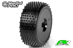 Medial Pro - MP-6465-M4 - Racing Tires glued on Rims - Turbo - M4 Super Soft - Buggy 1/8 - 17mm Hex - White Rims