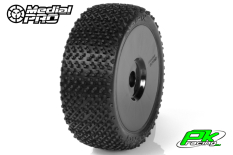 Medial Pro - MP-6475-M2 - Racing Tires glued on Rims - Matrix - M2 Medium - Buggy 1/8 - 17mm Hex - White Rims