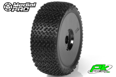 Medial Pro - MP-6475-M3 - Racing Tires glued on Rims - Matrix - M3 Soft - Buggy 1/8 - 17mm Hex - White Rims