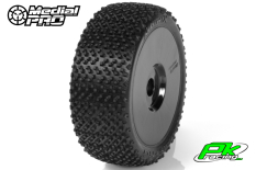 Medial Pro - MP-6475-M4 - Racing Tires glued on Rims - Matrix - M4 Super Soft - Buggy 1/8 - 17mm Hex - White Rims