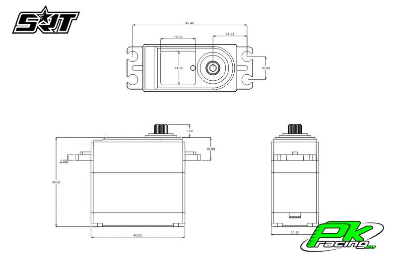 SRT - Servo CH6035 - Digital - Coreless - HV - Titanium/Alu Gears - 35kg/0.14sec@8.4V - Plastic/Alloy Case