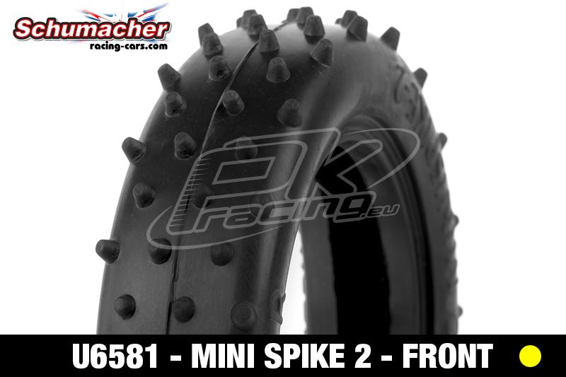 Schumacher - U6581 - Buggy 1/10 Tires - Mini Spike 2 - Slim - Front 2WD - Yellow Compound - 1 Pair