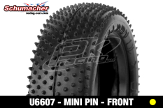 Schumacher - U6607 - Buggy 1/10 Tires - Mini Pin - Front 4WD - Yellow Compound - 1 Pair