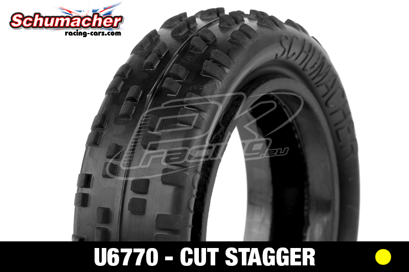 Schumacher - U6770 - Buggy 1/10 Tires - Cut Stagger - Low Profile - Front 2WD - Yellow Compound - 1 Pair