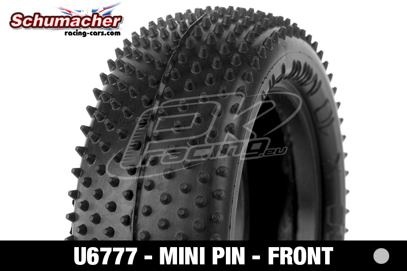 Schumacher - U6777 - Buggy 1/10 Tires - Mini Pin - Front 4WD - Silver Compound - 1 Pair