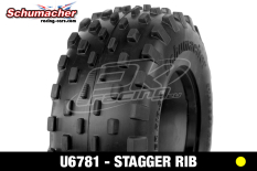 Schumacher - U6781 - Short Course Tires 1/10 - Stagger Rib - Yellow Compound - 1 Pair