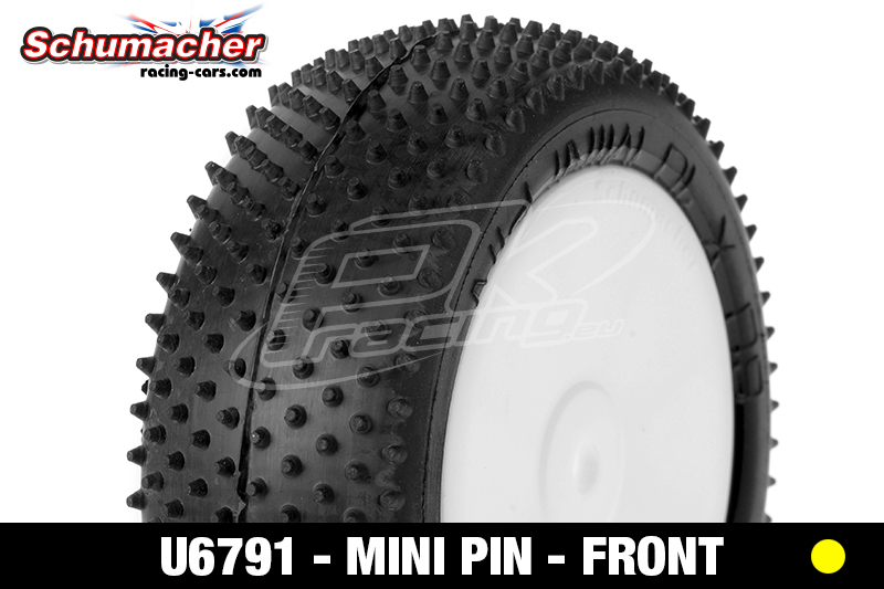 Schumacher - U6791 - Buggy 1/10 Tires - Mini Pin - Front 4WD - Yellow Compound - Glued on Rims - 1 Pair
