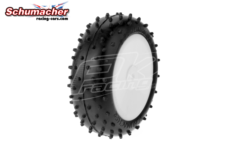 Schumacher - U6793 - Buggy 1/10 Tires - Mini Spike 2 - Front 4WD - Yellow Compound - Glued on Rims - 1 Pair